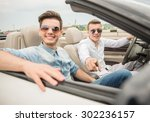 handsome boys in the cabriolet... | Shutterstock . vector #302236157