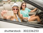 two attractive girls taking... | Shutterstock . vector #302236253