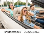 three happy friends in...   Shutterstock . vector #302238263