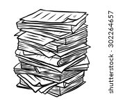 pile of used papers   cartoon... | Shutterstock .eps vector #302264657