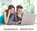 image of employees having... | Shutterstock . vector #302267213