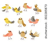 Stock vector cute collection set of nine funny birds in soft autumn theme pastel colors 302285873