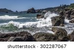 Waves Crashing On A Rocky Coast