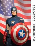 Small photo of BANGKOK -JULY 22: A waxwork of Captain America on display at Madame Tussauds on July 22, 2015 in Bangkok, Thailand. Madame Tussauds' newest branch hosts waxworks of numerous stars and celebrities