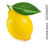 lemon with leaf isolated on... | Shutterstock . vector #302306507