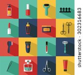 flat vector cosmetics icons and ... | Shutterstock .eps vector #302316683