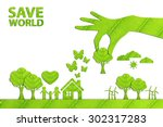 ecology concept made from green ... | Shutterstock . vector #302317283