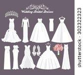vector wedding dresses in... | Shutterstock .eps vector #302322323