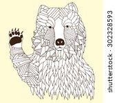 hi five bear illustration on... | Shutterstock .eps vector #302328593