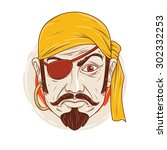 the sullen pirate. pirate pout... | Shutterstock .eps vector #302332253