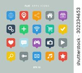 set of color flat apps icons. | Shutterstock .eps vector #302334653