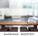 table top and blur interior of... | Shutterstock . vector #302337347