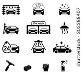 car wash icons set | Shutterstock .eps vector #302388407