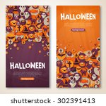 halloween banners set. vector... | Shutterstock .eps vector #302391413