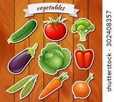 fresh vegetables on wooden... | Shutterstock .eps vector #302408357