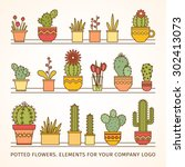 linear design  potted flowers.... | Shutterstock .eps vector #302413073