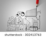market concept with pencil... | Shutterstock . vector #302413763