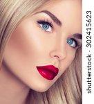 beautiful blonde girl with... | Shutterstock . vector #302415623