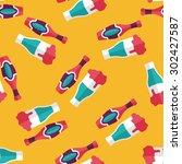 wine flat icon seamless pattern ... | Shutterstock . vector #302427587