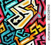 graffiti seamless pattern | Shutterstock .eps vector #302428943