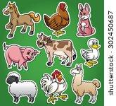 farm animals cartoon set | Shutterstock .eps vector #302450687