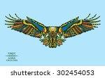 zentangle stylized eagle.... | Shutterstock .eps vector #302454053