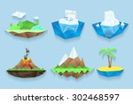 Vector Poly Islands Set. Sea...