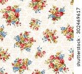 rose flower pattern  | Shutterstock .eps vector #302469617