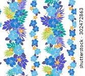 hibiscus flower pattern | Shutterstock .eps vector #302472863