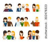Stock vector friends and friendly relations flat icons people social person communication couple human 302478323