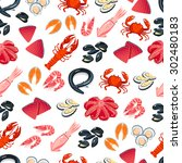 seamless pattern with cartoon... | Shutterstock .eps vector #302480183