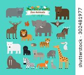 zoo animals flat design vector... | Shutterstock .eps vector #302481977