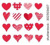 set of hearts   Shutterstock .eps vector #302503607