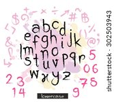 black pink alphabet lowercase... | Shutterstock .eps vector #302503943