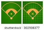 baseball field in two lawn... | Shutterstock .eps vector #302508377