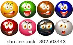 snooker balls with faces... | Shutterstock .eps vector #302508443