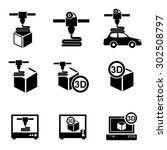 3d printer icons vector.