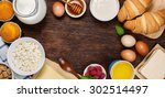 healthy breakfast with natural... | Shutterstock . vector #302514497