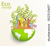 environmentally friendly world. ... | Shutterstock .eps vector #302515607