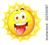 sun with happy face illustration | Shutterstock .eps vector #302520587