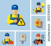 electrician worker icons  | Shutterstock .eps vector #302530433
