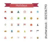 holidays and events flat icons... | Shutterstock .eps vector #302536793