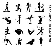 fitness cardio workout and body ... | Shutterstock .eps vector #302549813