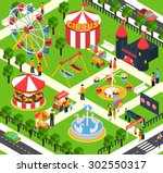 Amusement Park Isometric With...