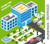 hospital building isometric... | Shutterstock .eps vector #302550323
