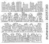 sketch big city architecture... | Shutterstock .eps vector #302557283