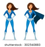 cute cartoon girl in super... | Shutterstock .eps vector #302560883