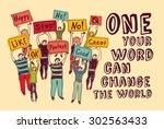 democracy voting change world... | Shutterstock .eps vector #302563433