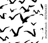 seamless  pattern with seagulls.... | Shutterstock .eps vector #302564633
