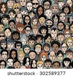 unhappy people   hand drawn... | Shutterstock .eps vector #302589377